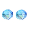 Fire Polished 12mm Crystal/Capri Blue Two-Tone Aurora Borealis